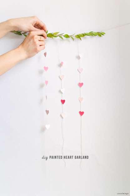 DIY painted heart garland_valentine's day