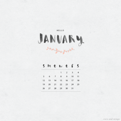 January 2014 calendar via coco and mingo